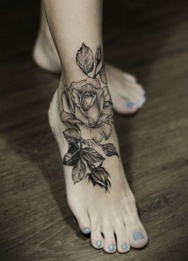 Gray Rose Flower Tattoo on Foot.