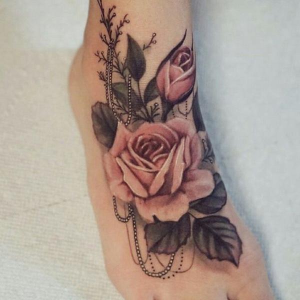 Vintage Rose Pearls Beautiful Foot Tattoo.