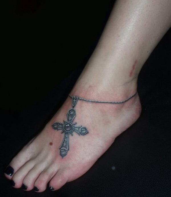 Cross Tattoo on Foot.