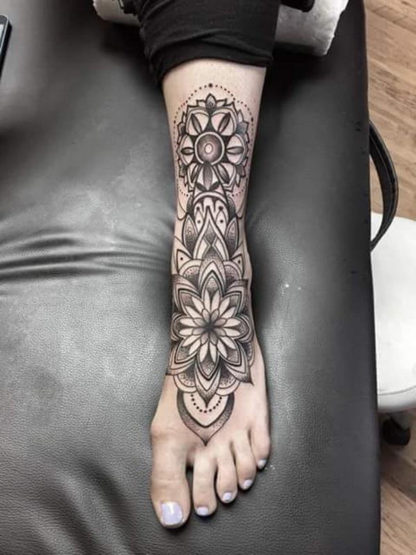 Awesome Mandala Full Feet Tattoo.