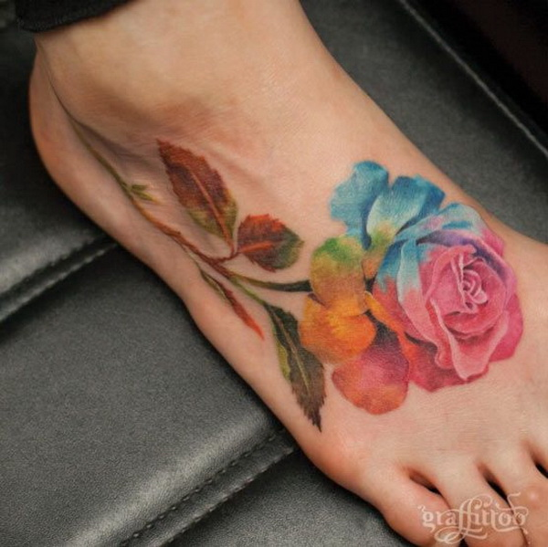 Watercolor Rose Tattoo on Foot.