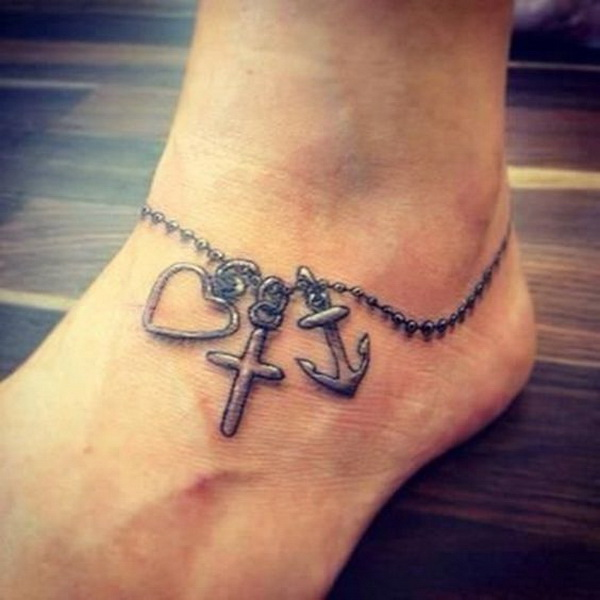 Heart and Anchor Foot Tattoo.