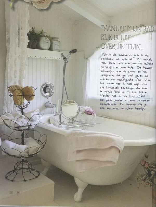 Whitewashed Shabby Chic Bathroom.
