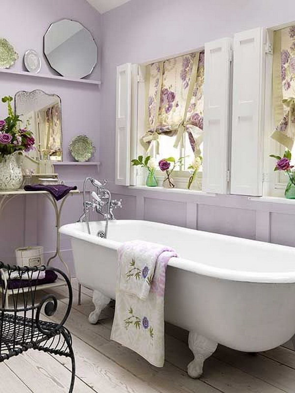 Soft Lavender And White Themed Shabby Chic Bathroom
