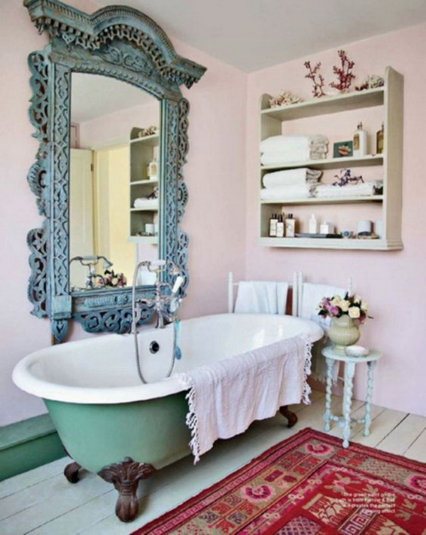 Shabby Chic Bathroom With Old Clawfoot Tub, Giant Mirror and Soft Pink Walls.