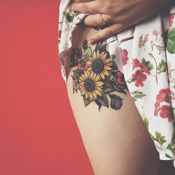 Sunflower Tattoo on Hip.