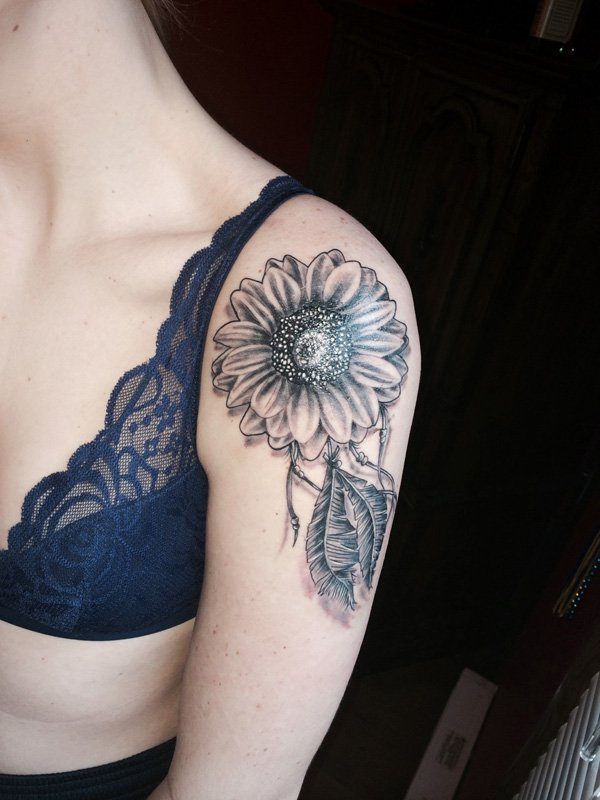 Sunflower Shoulder Tattoo Design.