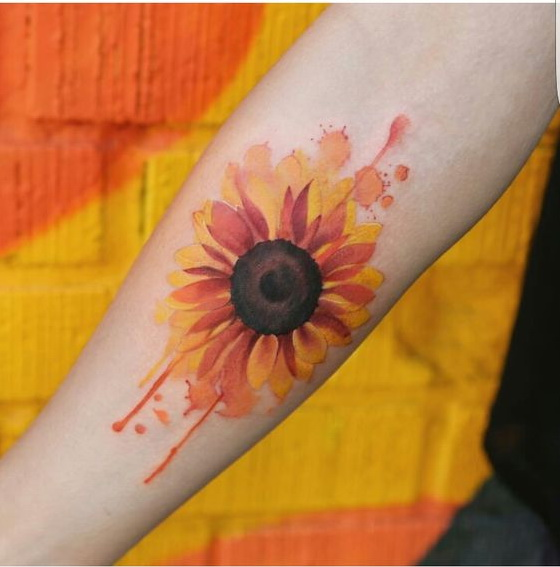 Watercolor Sunflower Arm Tattoo.