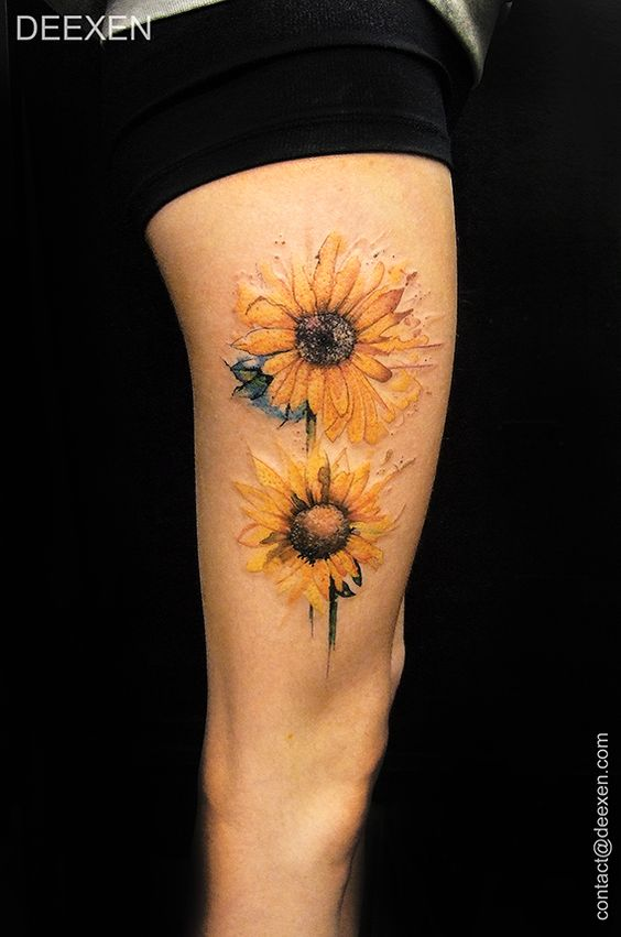 50 amazing sunflower tattoo ideas for creative juice for Sunflower tattoo thigh