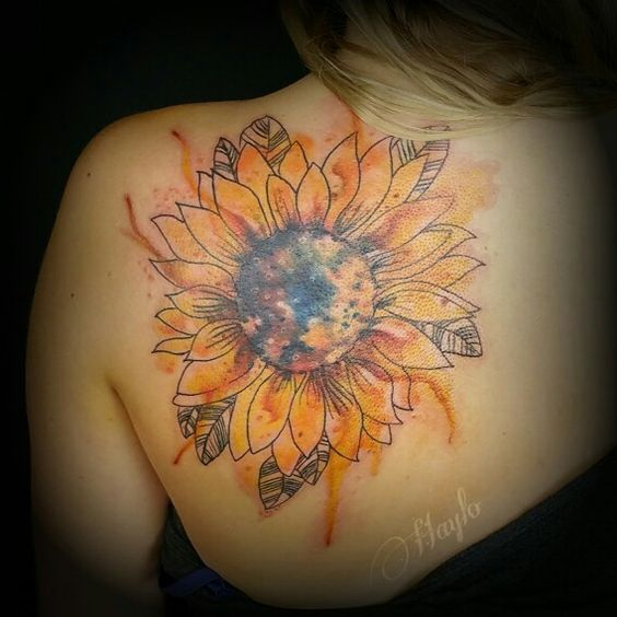 Watercolor Style Sunflower Shoulder Tattoo.