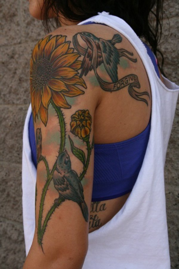 Vintage Sunflower Tattoo: Totally awesome!
