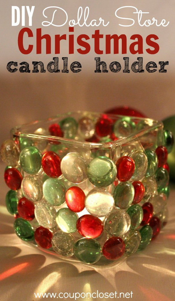 DIY Dollar Store Christmas Candle Holder. Such a fun and frugal craft to jazz up your Chirstmas decor. It can also make a great holiday gift idea!