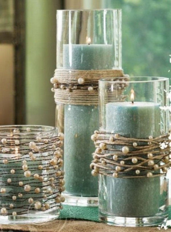String Pearls Decorated Candle Holders & 35+ Amazing DIY Votive Candle Holder Ideas - For Creative Juice