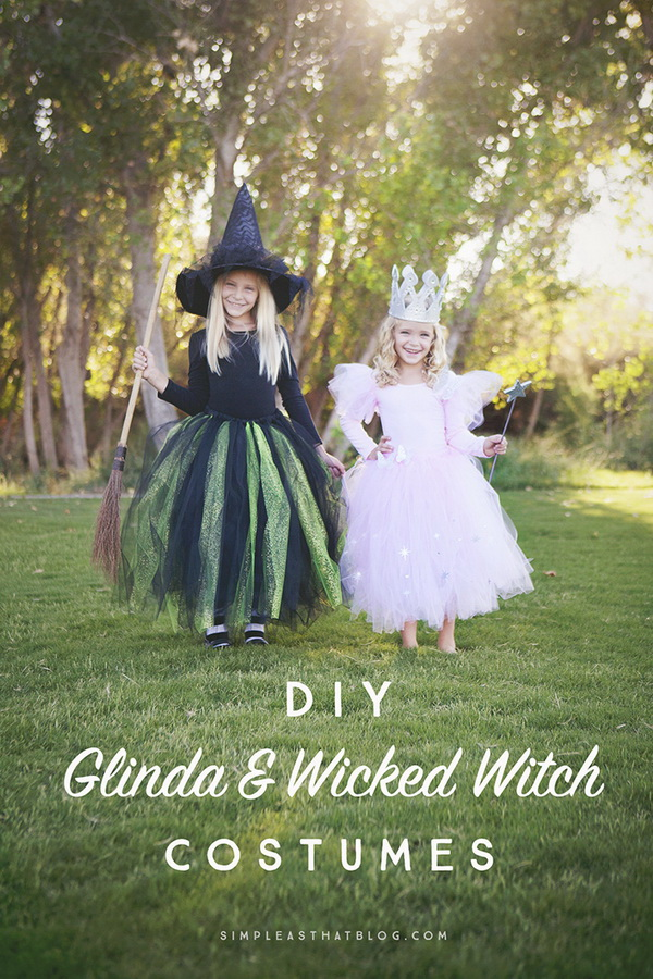 DIY Glinda And Wicked Witch Of The West Halloween Costumes & 20+ Creative DIY Halloween Costumes for Kids with Lots of Tutorials ...