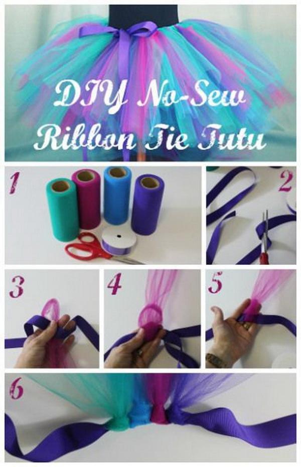 DIY No Sew Ribbon Tie Tutu Skirt.