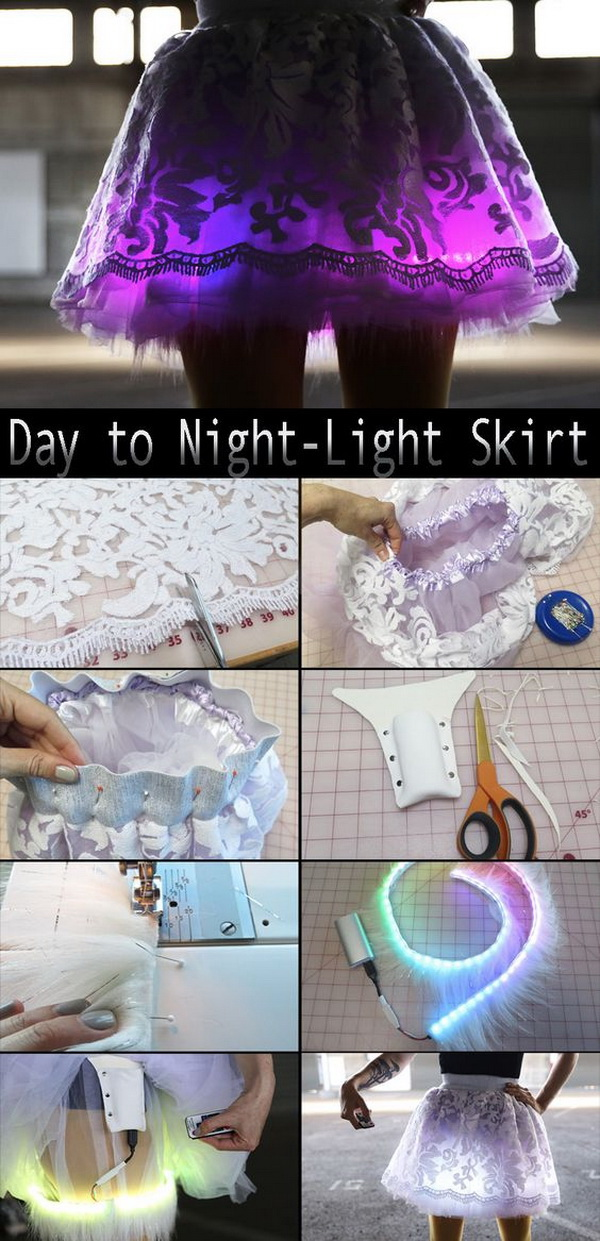 Handmade Day to Night Light Skirt. LEDs make the skirt pop! Every girl will love this fantastic costume for their Halloween party!