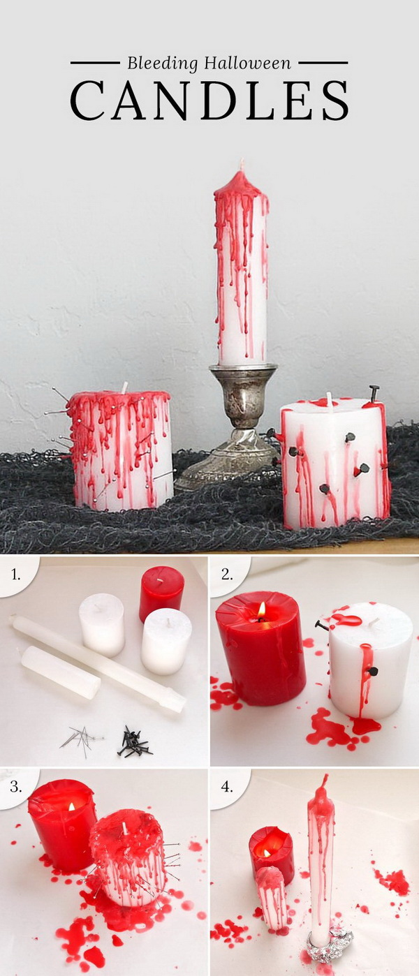 DIY Bleeding Halloween Candles. Transform dollar store candles into bleeding votives that really set the tone for an Eeerie evening of Halloween fun.