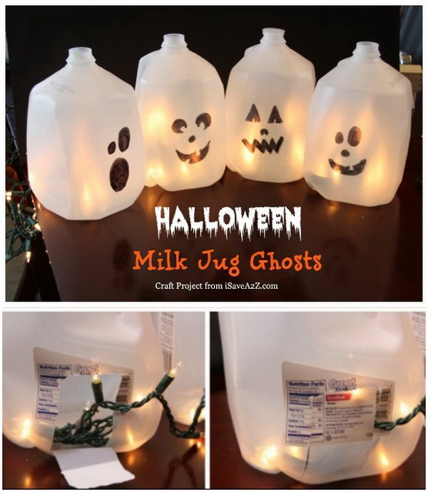 Easy Halloween Craft Ideas: Milk Jug Ghosts.