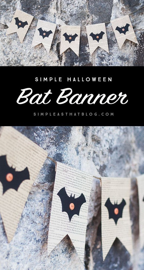 Bat Book Page Banner For Halloween. These book page banners are so quick and easy to put together and will add just the right handmade touch to your Halloween decor.