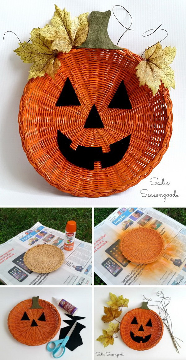 Paper Plate Holder Jack-o-Lantern Décor. Add a bit of whimsy to your Halloween mantel decor this year with this paper plate holder jack-o-lantern!