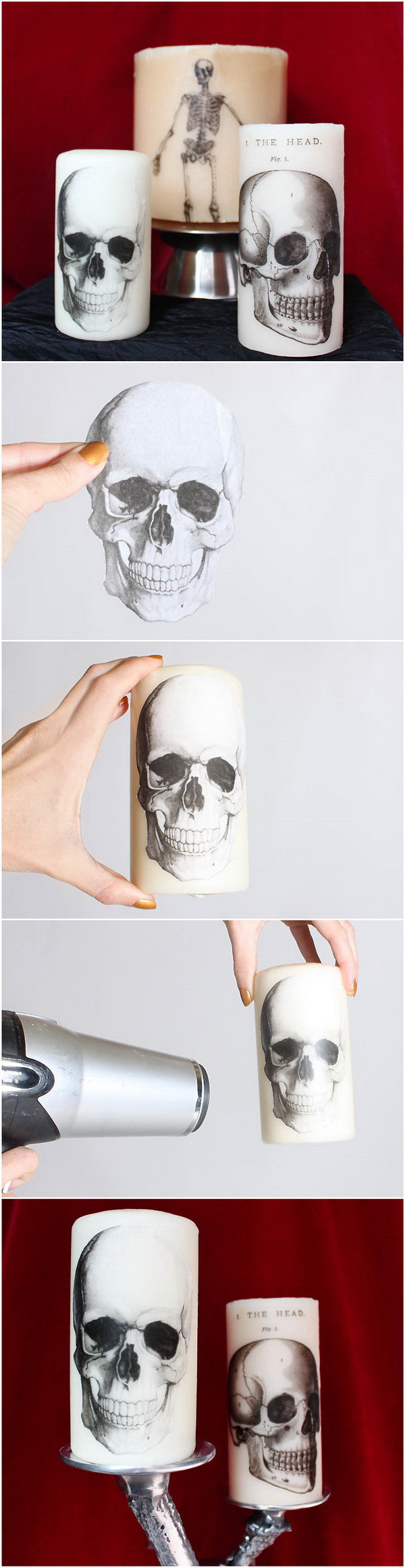DIY Printed Halloween Candles. Candles make great decorations and add pretty light to a room!