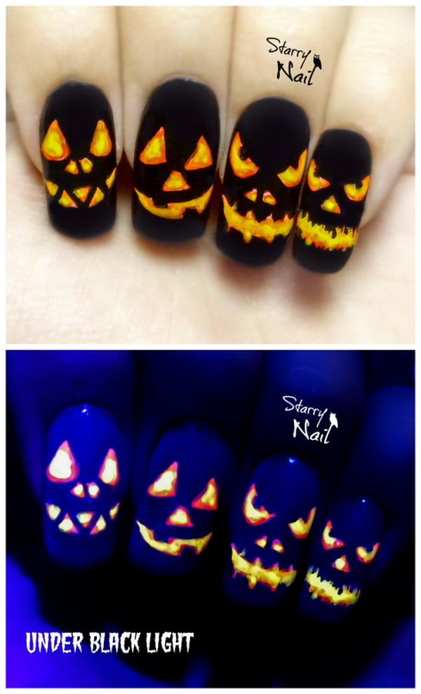 Diy halloween nail art designs with step by step tutorials for halloween pumpkins easy glow in the dark nail art prinsesfo Gallery