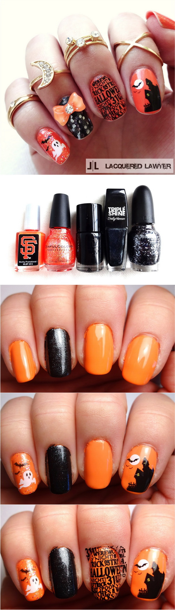 Diy halloween nail art designs with step by step tutorials for halloween nail art prinsesfo Images