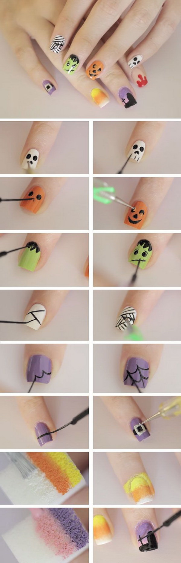 Nail Art Designs Step By Step | Diy Halloween Nail Art Designs With Step By Step Tutorials For