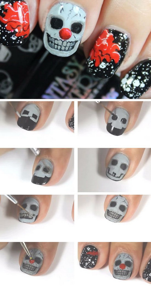 Creepy Skull Clown Halloween DIY Nail Art.