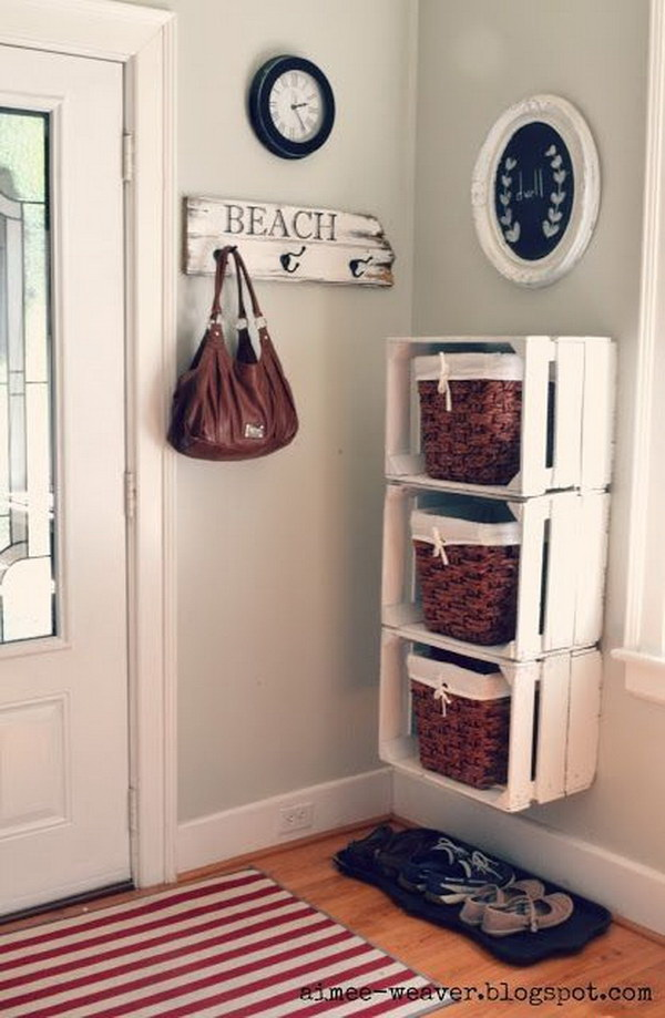 DIY Crates Shelving System. Build a set of shelving system with wooden crates and dress up the look with vintage white! Look great in your entry way or mudroom!