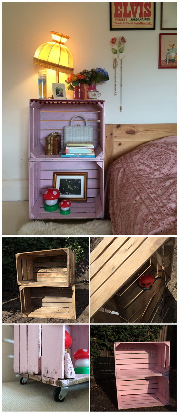 DIY Crate Side Table. A practical nightstand made with a pair of old wooden crates, a handful of screws; dress up the look with a lick of candy colored paint. Perfect for your girls' bedroom!