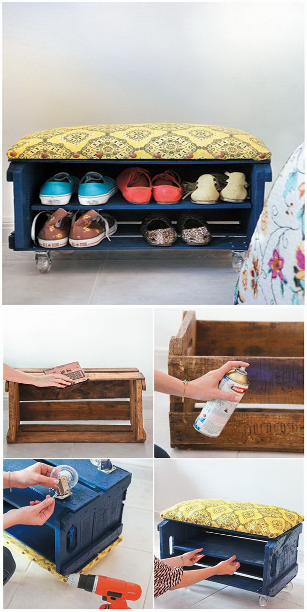 Wood Crate Shoe Bench. Create a remarkable shoe bench that will keep your hallway neat and organized and impress your guests!