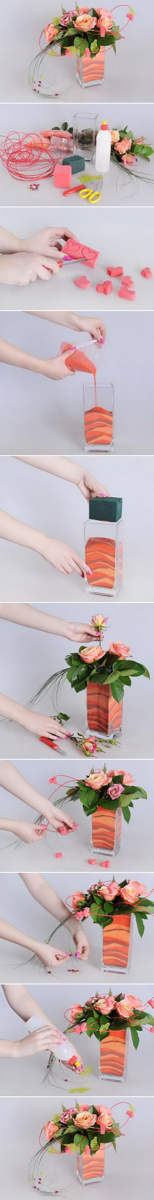 DIY Flower Vase Decoration. Finish off your flower arrangement with gradient colored sand for any décor. Look so striking and attractive when placed on formal entryways and corner tables.