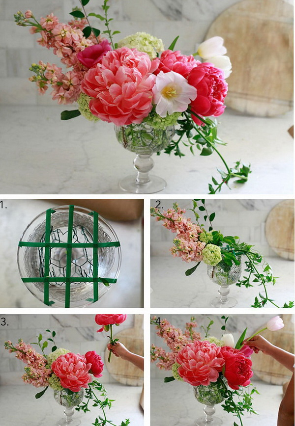 Flower Arrangement Centerpiece. Simple flower arrangement that anyone can do in several minutes! Freshen up the look of a room by starting with this project!