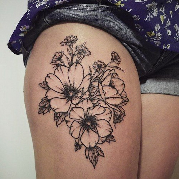 Antique Floral Tattoo.