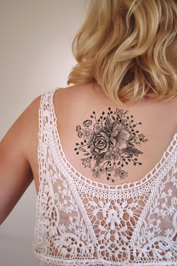 Large Vintage Floral Temporary Tattoo.