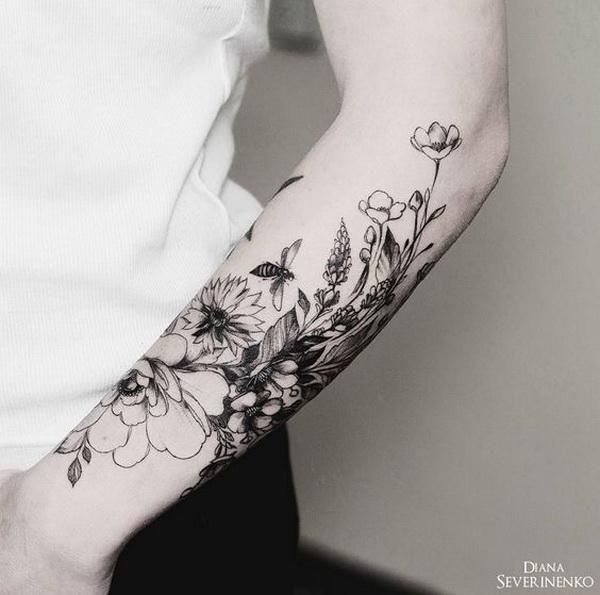Vintage Floral Tattoo on Half Arm.