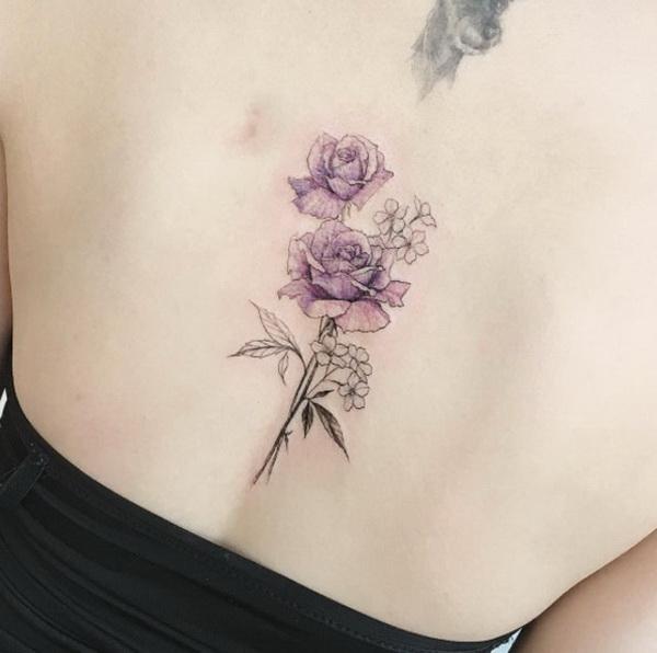 Elegant Purple Roses on Back.