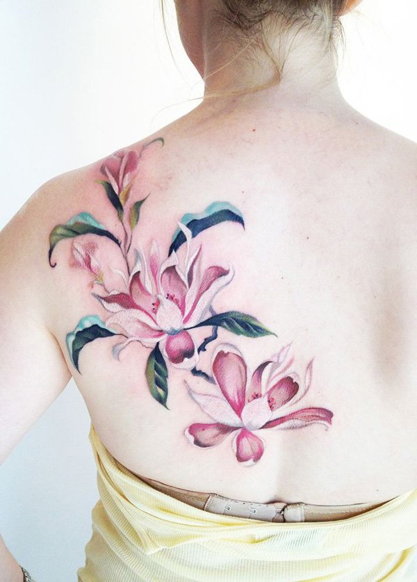 Pink Magnolia Flower Tattoo on The Back.