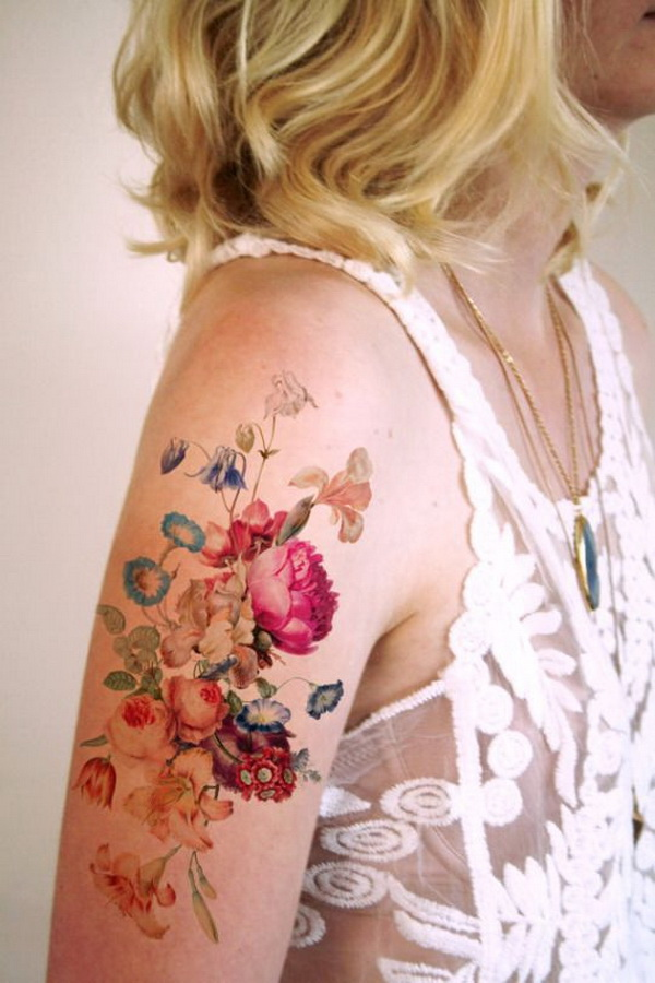 Colorful Floral Tattoo Shoulder.