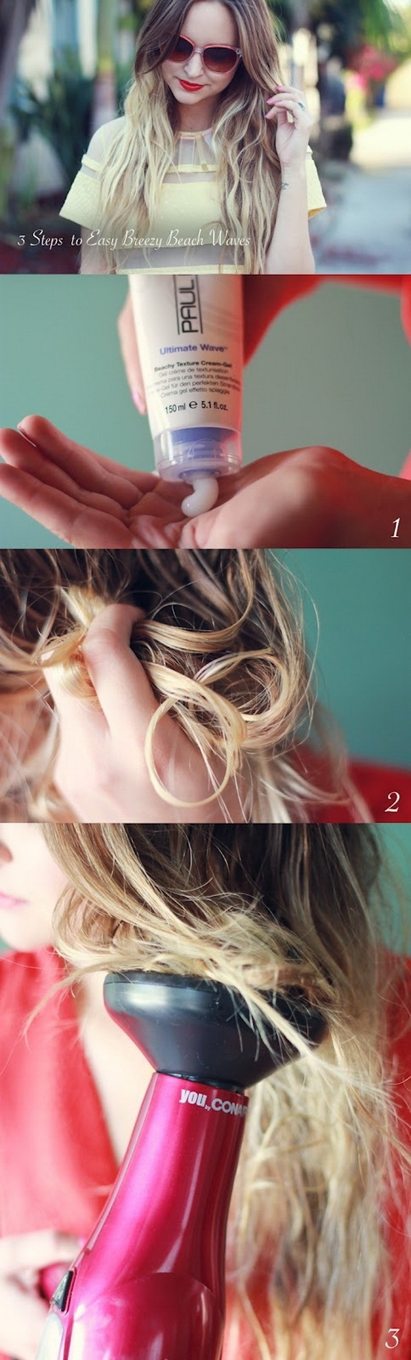 Scrunch your hair with beach spray or gel and use a diffuser. A super-easy and fast method to get simple waves without using any styling tools!
