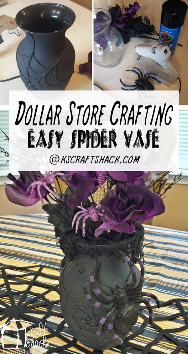 DIY Spider Halloween Vase.