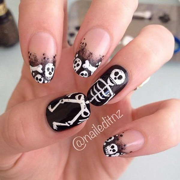 Scary Skull Halloween Nail Art. Halloween Nail Art Ideas.