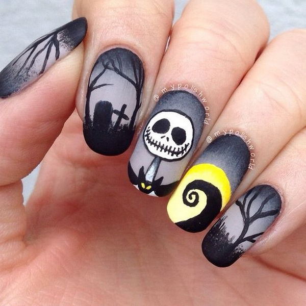Dark Nightmare Nail Art for Halloween. Halloween Nail Art Ideas. - 50+ Spooky Halloween Nail Art Designs - For Creative Juice