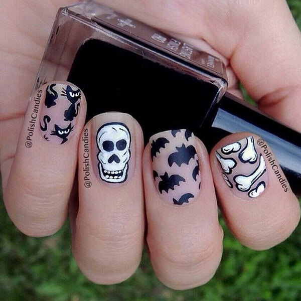 Black & White Matte Nail Designs for Halloween. Halloween Nail Art Ideas.