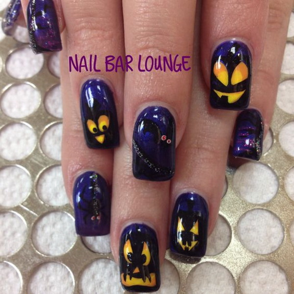 Halloween Gel Nails with Scary Pumpkin Head. Halloween Nail Art Ideas.