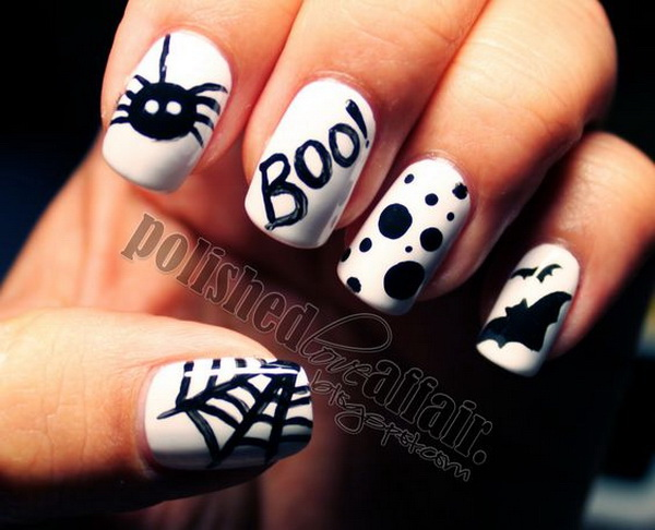 Black and White Nail Art Designs for Halloween. Halloween Nail Art Ideas.