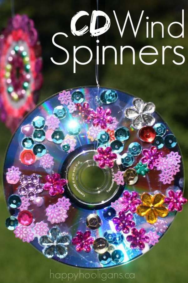 Vibrant Cd Wind Spinners Made From Old Cds. Turn your old, scratched CDs and DVDs into vibrant CD Wind Spinners for your deck, patio or balcony.