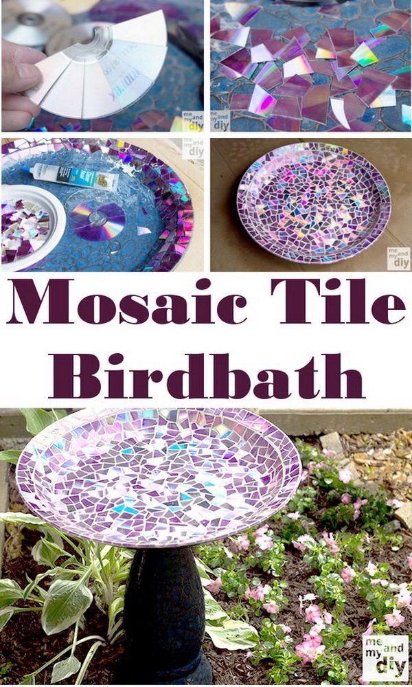 Mosaic Tile Birdbath Made with Recycled DVDs.