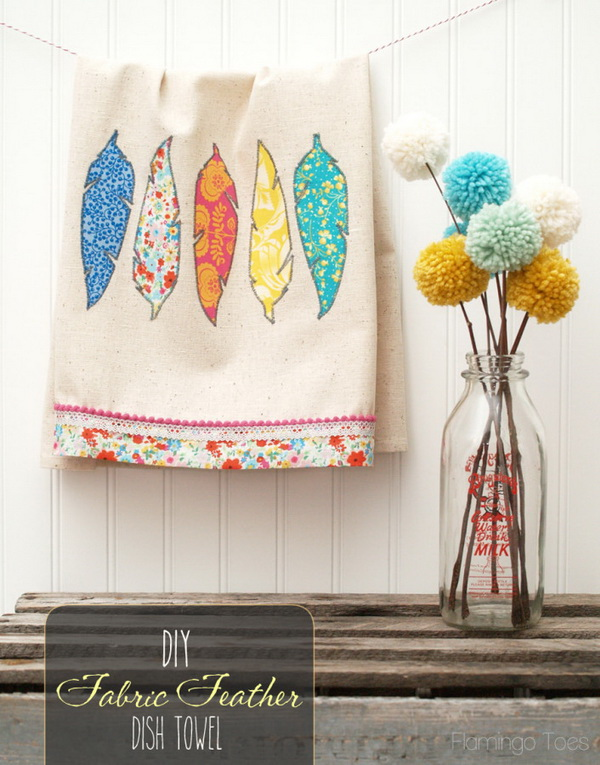 DIY Fabric Feather Dishtowels. An easy item to sew in several minutes. A perfect one to have in any kitchen!